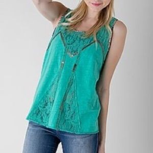 BKE Lace Sequin Mint Open Back Tank Top